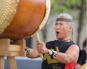 Kenny Endo performs taiko on the Peace Plaza during A WALK THROUGH TIME